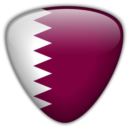 Qatar Flag Glossy Button Vector