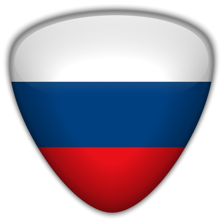 Russia Flag Glossy Button Vector