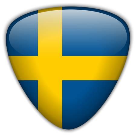 sweden flag: Svezia Bandiera Button Glossy Vettoriali