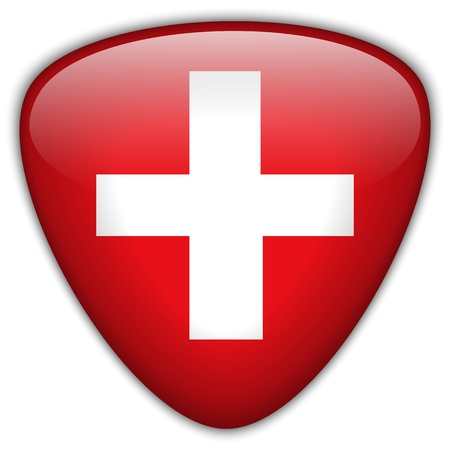 switzerland flag: Switzerland Flag Glossy Button