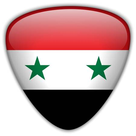 Syria Flag Glossy Button Vector