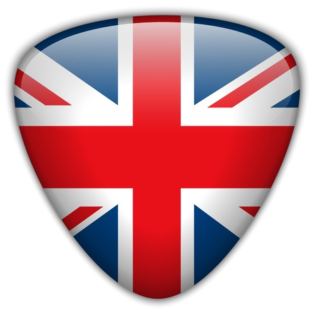 UK Flag Glossy Button Vector