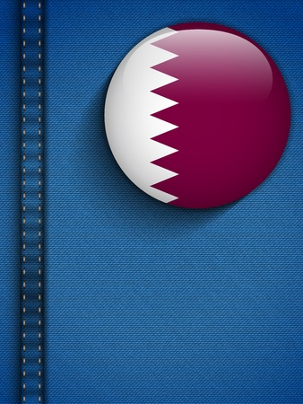 jeans texture: Vector - Qatar Flag Button in Jeans Pocket Illustration