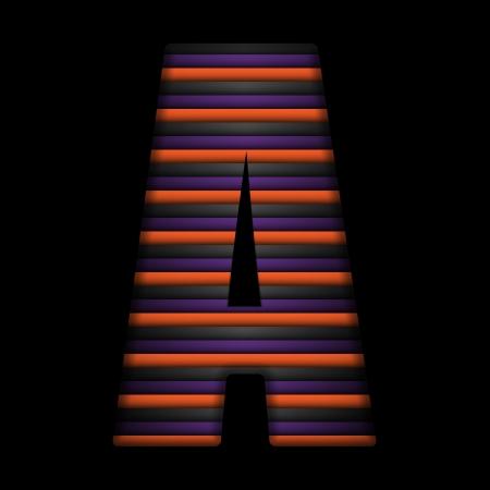 Vector - Halloween Alphabet Letters Stripe Black Orange Purple Vector