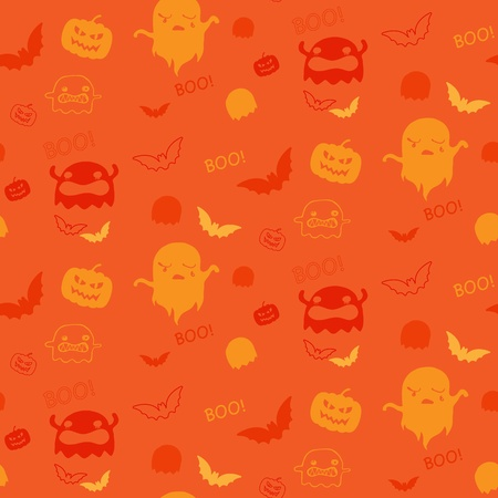 Halloween Ghost Bat Pumpkin Seamless Pattern Background Vector
