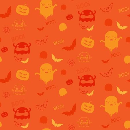 Halloween Ghost Bat Pumpkin Seamless Pattern Background Stock Vector - 21639605
