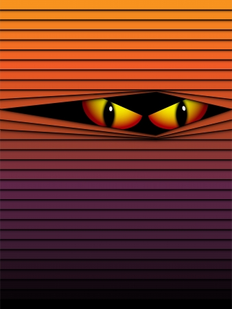 hidden danger: Vector Halloween Background Scary Eyes Orange