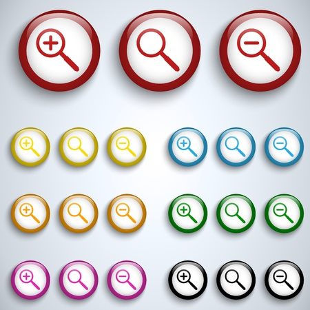 Magnifying Lens Button Set Icon Vector
