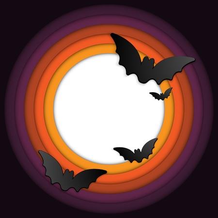fruit bat: Halloween Bat Circle Frame Pumpkin Background Illustration
