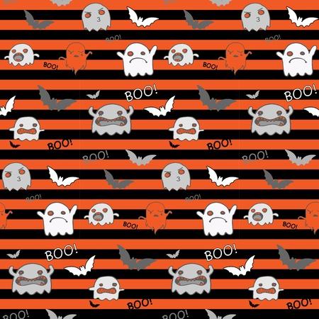 Halloween Ghost Bat Pumpkin Seamless Pattern Background Vector