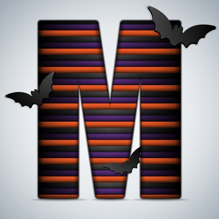 Vector - Halloween Bat Alphabet Letters Stripe Black Orange Purple Vector