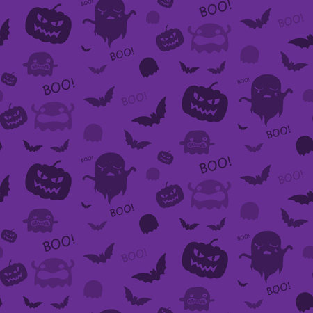 Halloween Ghost Bat Pumpkin Seamless Pattern Background Purple Vector Vector
