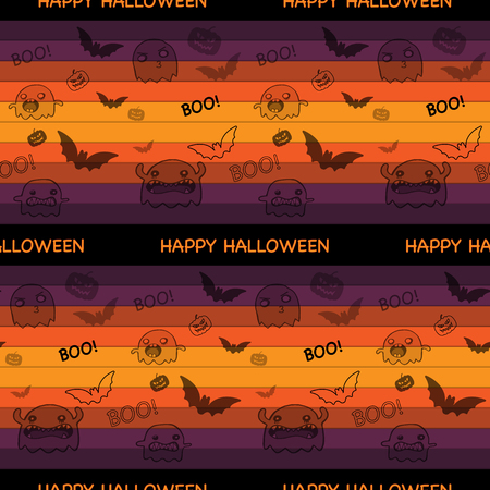 Halloween Ghost Bat Pumpkin Seamless Pattern Background Vector Vector