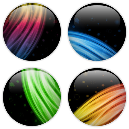 Vector - Glass Circle Button Colorful Neon Waves Stock Vector - 22749128