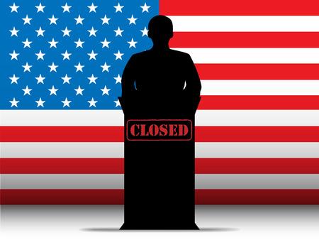 shutdown: Vector - United States of America  Shutdown Closed Speech Tribune Silhouette with Flag Background Illustration