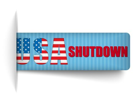 shutdown: Vector - Government Shutdown USA Closed Banners.