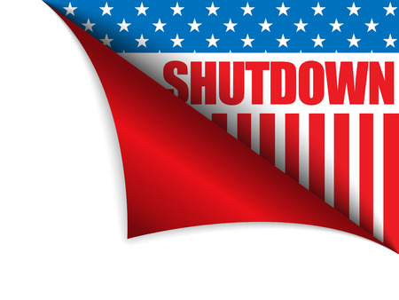 shutdown: Vector - Shutdown Closed United States of America Page Corner