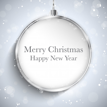 Vector - Merry Christmas Happy New Year Ball Silver with Stars and Snowflakes