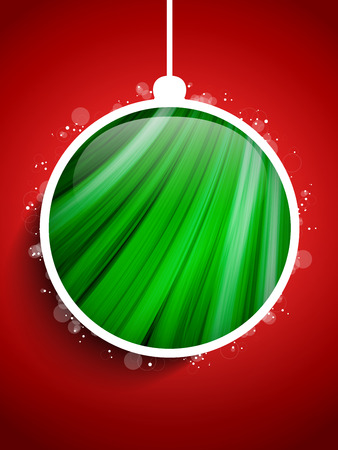 Vector - Merry Christmas Happy New Year Ball on Red Background Vector