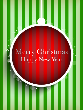 Vector - Merry Christmas Happy New Year Ball on Stripe Background Vector