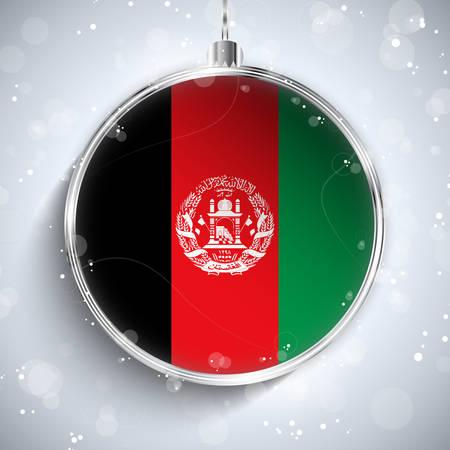 afghanistan: Vector - Merry Christmas Silver Ball with Flag Afghanistan Illustration