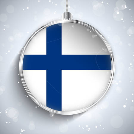Vector - Merry Christmas Silver Ball with Flag Finland
