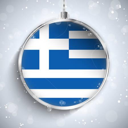 greek flag: Vector - Merry Christmas Silver Ball with Flag Greece