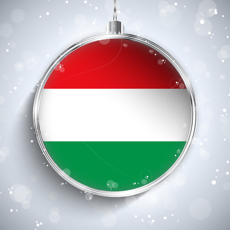 Vector - Merry Christmas Silver Ball with Flag Hungary Vector