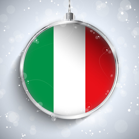 Vector - Merry Christmas Silver Ball with Flag Italy Vector