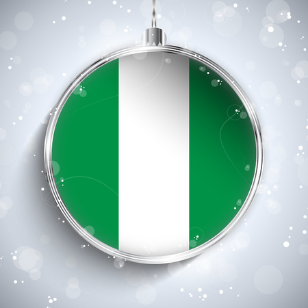 nigeria: Vector - Merry Christmas Silver Ball with Flag Nigeria