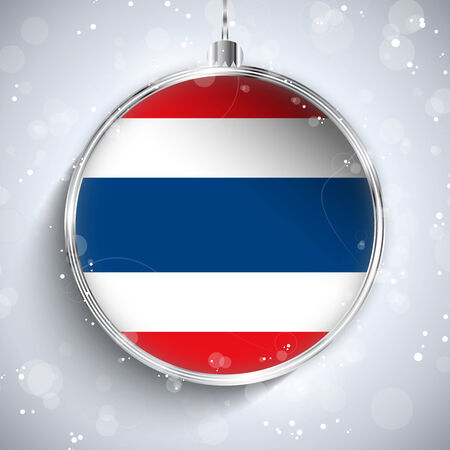 Vector - Merry Christmas Silver Ball with Flag Thailand Vector