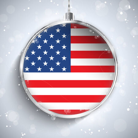 Vector - Merry Christmas Silver Ball with Flag USA Vector