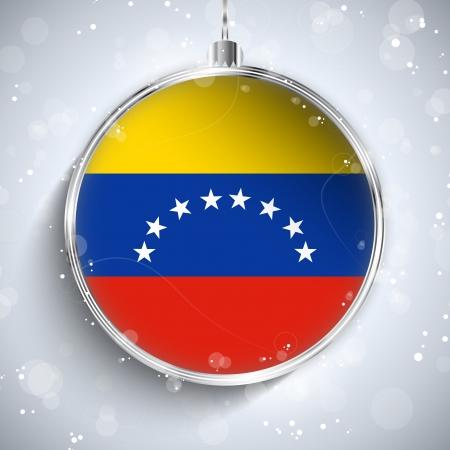venezuelan: Vector - Feliz Navidad bola de plata con la bandera Venezuela