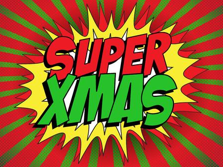 Vector - Merry Christmas Super Hero Background Vector