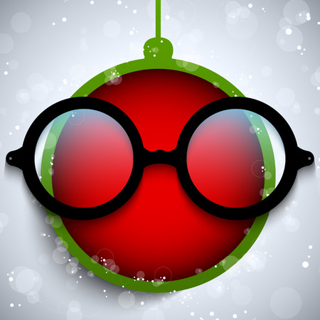 Vector - Merry Christmas Red Ball with Glasses Stock Vector - 23098040
