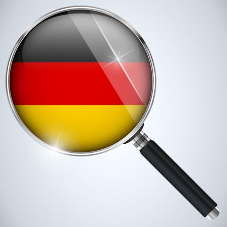 Vector - NSA USA Government Spy Program Country Germany Vektorové ilustrace