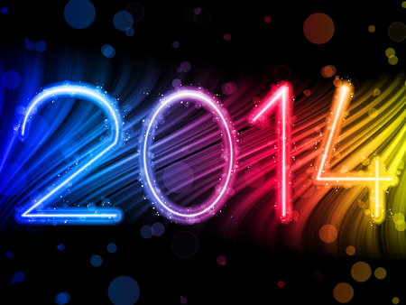 Vector - 2014 New Year Colorful Waves on Black Background Vector