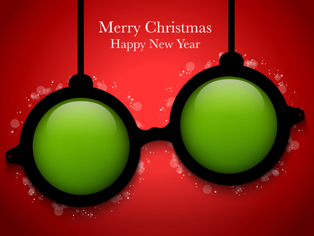Vector - Merry Christmas Green Ball with Glasses Stock Vector - 23211597
