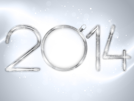 Vector - Happy New Year 2014 Silver Background Vector