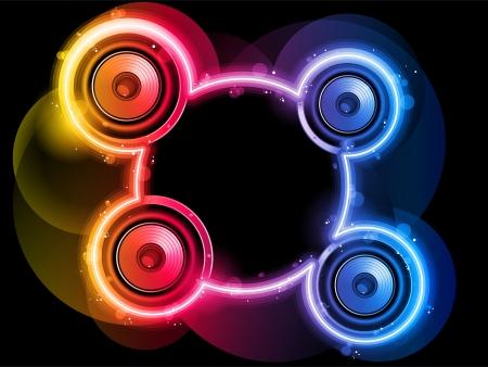 volume glow light: Vector - Disco Speaker with Neon Rainbow Circle