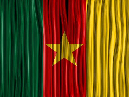Vector - Cameroon Flag Wave Fabric Texture Background Vector