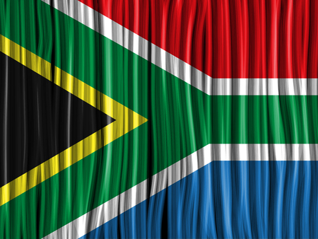Vector - South Africa Flag Wave Fabric Texture Background Vector