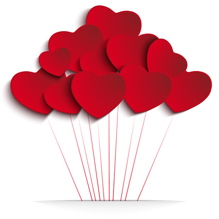 Vector - Valentines Day Heart Balloons on Red Background Vector