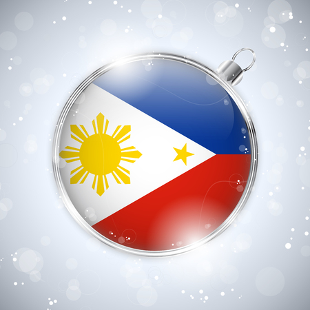philippines: Vector - Merry Christmas Silver Ball with Flag Philippines Illustration