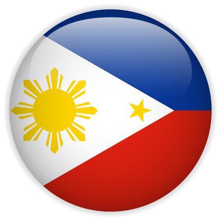 typhoon: Vector - Philippines Flag Glossy Button Illustration