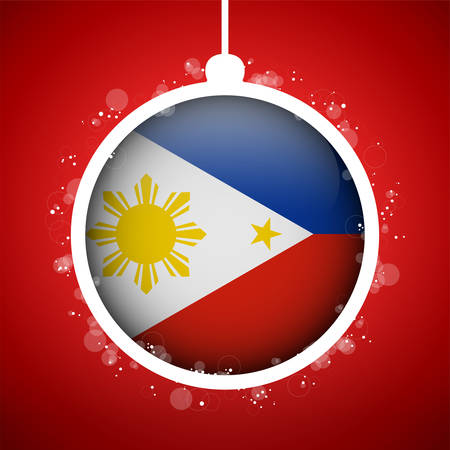 Vector - Merry Christmas Red Ball with Flag Philippines Stock Vector - 23710790