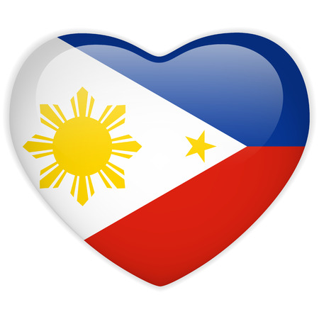 Vector - Philippines Flag Heart Glossy Button Vector