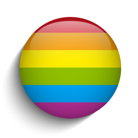 Vector - Gay Flag Circle Striped Button Vector