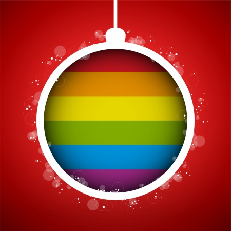 Vector - Gay Flag Merry Christmas Ball Vector