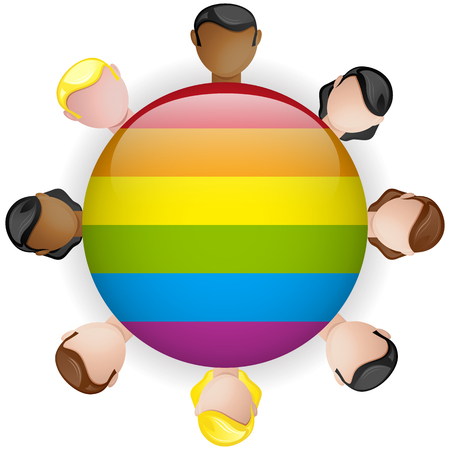 Vector - Gay Flag Icon Multitud Grupo